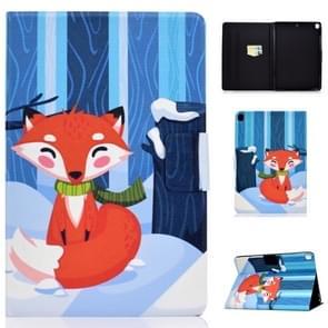 Voor iPad 10 2 inch gekleurde tekening horizontale Flip lederen draagtas met houder & kaartsleuven & slaap/Wake-up functie (Red Fox)