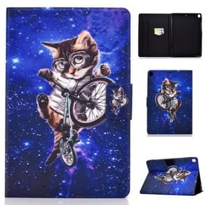 For iPad 10.2 inch Colored Drawing Horizontal Flip Leather Case with Holder & Card Slots & Sleep / Wake-up Function(Glasses Cat)