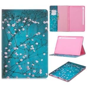 Voor Galaxy tab S6 T860/T865 gekleurde tekening patroon horizontale Flip lederen draagtas met houder & kaartsleuven & portemonnee (Plum Blossom)
