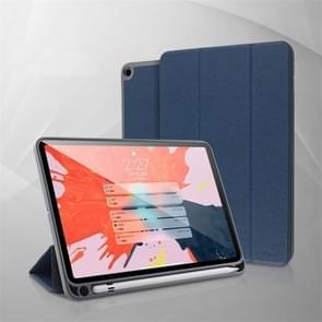 YASHI serie voor iPad 10 2 Litchi textuur horizontale Flip lederen draagtas met drie-vouwen houder & pen slot (blauw)