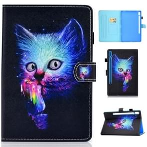 Voor Galaxy tab S6 T860/T865 gekleurde tekening horizontale Flip lederen draagtas met houder & kaartsleuven & pen slot & slaap/Wake-up functie (Magic Cat)