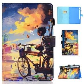 Voor Galaxy tab S6 T860/T865 gekleurde tekening horizontale Flip lederen draagtas met houder & kaartsleuven & pen slot & slaap/Wake-up functie (Cycling Boy)