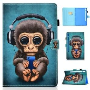 Voor Galaxy tab S6 T860/T865 gekleurde tekening horizontale Flip lederen draagtas met houder & kaartsleuven & pen slot & slaap/Wake-up functie (hoofdtelefoon Monkey)