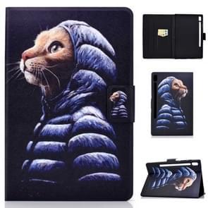 Voor Galaxy tab S6 T860/T865 gekleurde tekening horizontale Flip lederen draagtas met houder & kaartsleuven & slaap/Wake-up functie (kleine gele kat)