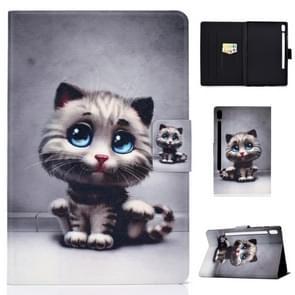Voor Galaxy tab S6 T860/T865 gekleurde tekening horizontale Flip lederen draagtas met houder & kaartsleuven & slaap/Wake-up functie (Pet Cat)