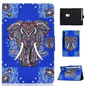 Voor Galaxy tab S6 T860/T865 gekleurde tekening horizontale Flip lederen draagtas met houder & kaartsleuven & slaap/Wake-up functie (etnische olifant)