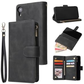 For iPhone XR Multifunctional Retro Frosted Horizontal Flip Leather Case with Card Slot & Holder & Zipper Wallet & Photo Frame & Lanyard(Black)