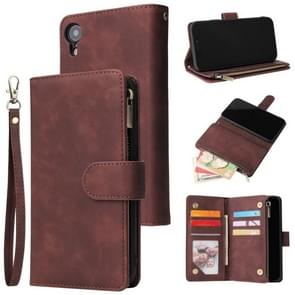 For iPhone XR Multifunctional Retro Frosted Horizontal Flip Leather Case with Card Slot & Holder & Zipper Wallet & Photo Frame & Lanyard(Coffee)