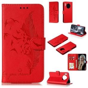 Voor Huawei mate 30 Feather patroon Litchi textuur horizontale Flip lederen draagtas met houder & portemonnee & kaartsleuven (rood)