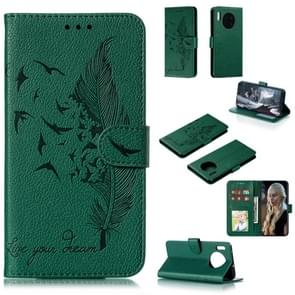 For Huawei Mate 30 Feather Pattern Litchi Texture Horizontal Flip Leather Case with Holder & Wallet & Card Slots(Green)