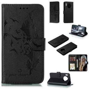 Voor Huawei mate 30 Feather patroon Litchi textuur horizontale Flip lederen draagtas met houder & portemonnee & kaartsleuven (zwart)