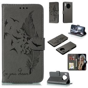 Voor Huawei mate 30 Feather patroon Litchi textuur horizontale Flip lederen draagtas met houder & portemonnee & kaartsleuven (grijs)