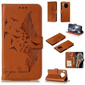Voor Huawei mate 30 Feather patroon Litchi textuur horizontale Flip lederen draagtas met houder & portemonnee & kaartsleuven (bruin)