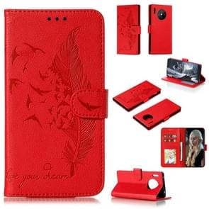 For Huawei Mate 30 Pro Feather Pattern Litchi Texture Horizontal Flip Leather Case with Holder & Wallet & Card Slots(Red)