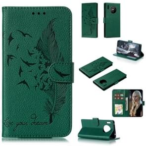 For Huawei Mate 30 Pro Feather Pattern Litchi Texture Horizontal Flip Leather Case with Holder & Wallet & Card Slots(Green)