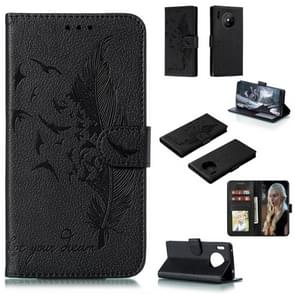 For Huawei Mate 30 Pro Feather Pattern Litchi Texture Horizontal Flip Leather Case with Holder & Wallet & Card Slots(Black)
