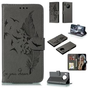 For Huawei Mate 30 Pro Feather Pattern Litchi Texture Horizontal Flip Leather Case with Holder & Wallet & Card Slots(Gray)