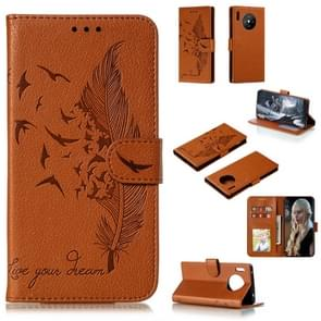 For Huawei Mate 30 Pro Feather Pattern Litchi Texture Horizontal Flip Leather Case with Holder & Wallet & Card Slots(Brown)