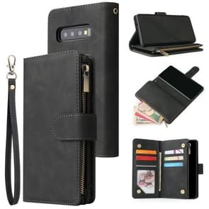 For Galaxy S10 Multifunctional Retro Frosted Horizontal Flip Leather Case with Card Slot & Holder & Zipper Wallet & Photo Frame & Lanyard(Black)