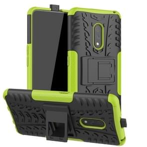 For OPPO Realme X Tire Texture TPU + PC Shockproof Case with Holder(Green)