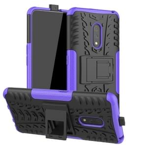 For OPPO Realme X Tire Texture TPU + PC Shockproof Case with Holder(Purple)