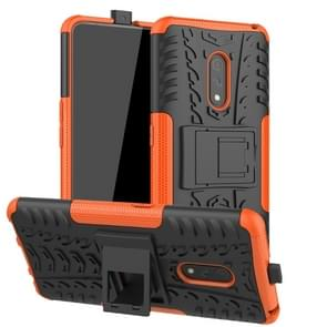 For OPPO Realme X Tire Texture TPU + PC Shockproof Case with Holder(Orange)