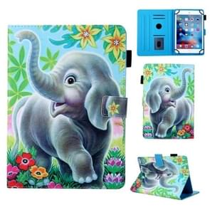 For 8 inch Universal Tablet PC Coloured Drawing Pattern Horizontal Flip Leather Case with Holder & Card Slot(Elephant)
