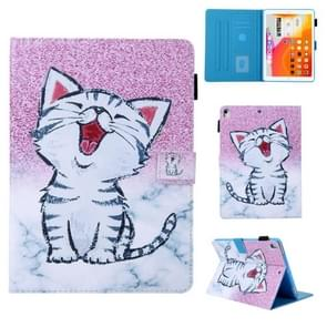 For iPad 10.2 Coloured Drawing Pattern Horizontal Flip Leather Case with Holder & Card Slot(Red-Billed Cat)