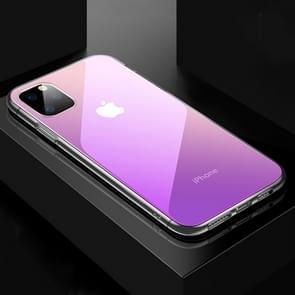 Voor iPhone 11 CAFELE kleur transparante serie silicone rand + glas terug plaat anti-kras anti-vingerafdruk kleurovergang telefoon beschermende case (witte telefoons gradiënt paars)