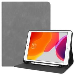 For iPad 10.2 Cowhide Texture Pattern Horizontal Flip Leather Case with Holder & Pen Slots & Sleep / Wake-Up Function(Grey)