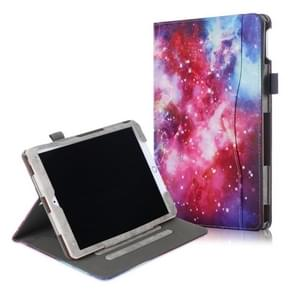 For iPad 10.2 Cowhide Texture Pattern Colored Drawing Horizontal Flip Leather Case With Holder & Sleep / Wake-up Function(Galaxy)