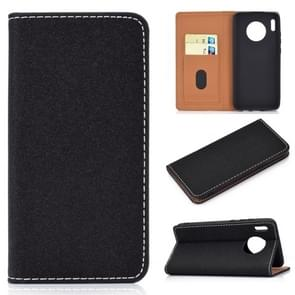 For Huawei Mate 30 Solid Color Magnetic Horizontal Flip Leather Case with Card Slot & Holder(Black)