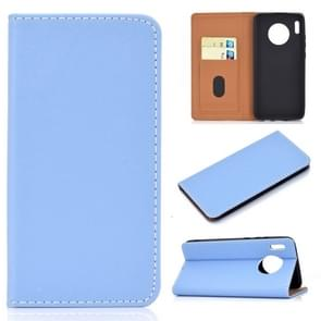 For Huawei Mate 30 Solid Color Magnetic Horizontal Flip Leather Case with Card Slot & Holder(Blue)