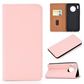 For Huawei Mate 30 Solid Color Magnetic Horizontal Flip Leather Case with Card Slot & Holder(Pink)