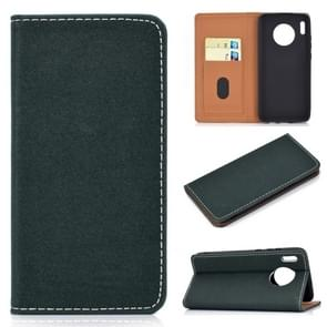 For Huawei Mate 30 Solid Color Magnetic Horizontal Flip Leather Case with Card Slot & Holder(Green)