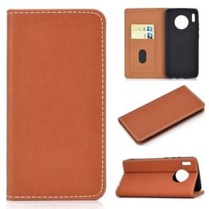 Voor Huawei mate 30 effen kleur magnetische horizontale Flip lederen draagtas met kaartsleuf & houder (bruin)