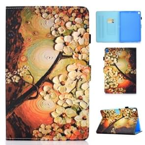 For iPad 10.2 inch Colored Drawing Horizontal Flip Leather Case with Holder & Card Slots & Pen Slot & Sleep / Wake-up Function(Plum Blossom)