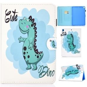 Voor iPad 10 2 inch gekleurde tekening horizontale Flip lederen draagtas met houder & kaartsleuven & pen sleuf & slaap/Wake-up functie (dinosaurus)