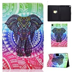 Voor iPad 10 2 inch gekleurde tekening horizontale Flip lederen draagtas met houder & kaartsleuven & slaap/Wake-up functie (olifant)
