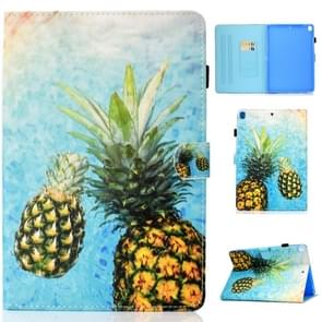 For iPad 10.2 inch Colored Drawing Horizontal Flip Leather Case with Holder & Card Slots & Pen Slot & Sleep / Wake-up Function(Pineapple)
