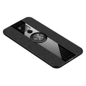 Voor Huawei mate 20 X XINLI stiksels doek Textue schokbestendig TPU beschermhoes met ring houder (zwart)