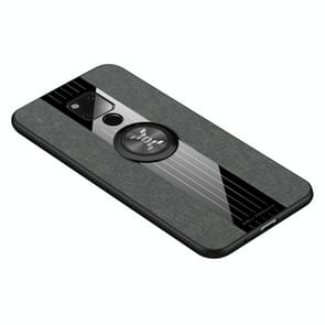 For Huawei Mate 20 X XINLI Stitching Cloth Textue Shockproof TPU Protective Case with Ring Holder(Grey)