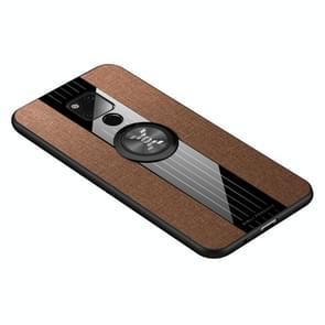 Voor Huawei mate 20 X XINLI stiksels doek Textue schokbestendig TPU beschermhoes met ring houder (bruin)