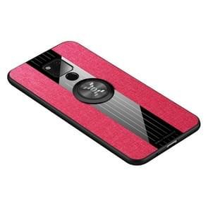 Voor Huawei mate 20 X XINLI stiksels doek Textue schokbestendig TPU beschermhoes met ring houder (rood)