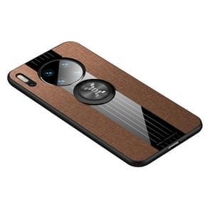 Voor Huawei mate 30 XINLI stiksels doek Textue schokbestendig TPU beschermhoes met ring houder (bruin)