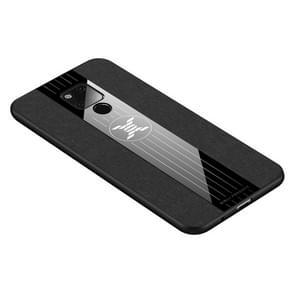 Voor Huawei mate 20 X XINLI stiksels doek Textue schokbestendig TPU beschermhoes (zwart)