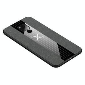 Voor Huawei mate 20 X XINLI stiksels doek Textue schokbestendig TPU beschermhoes (grijs)