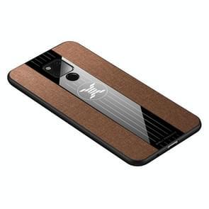 Voor Huawei mate 20 X XINLI stiksels doek Textue schokbestendig TPU beschermhoes (bruin)