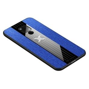Voor Huawei mate 20 X XINLI stiksels doek Textue schokbestendig TPU beschermhoes (blauw)