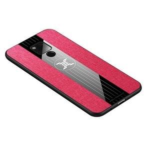Voor Huawei mate 20 X XINLI stiksels doek Textue schokbestendig TPU beschermhoes (rood)